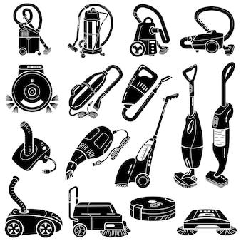 掃除機のアイコンセット、シンプルなスタイル