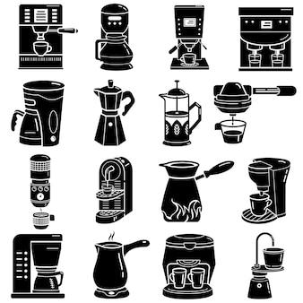 コーヒーメーカーのアイコンセット、シンプルなスタイル