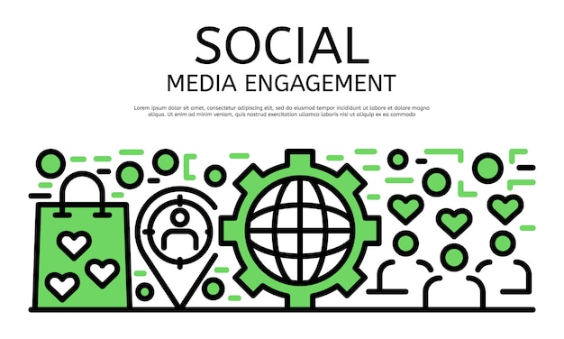 ソーシャルメディアエンゲージメントバナー、アウトラインスタイル