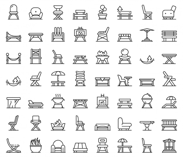 庭の家具のアイコンセット、アウトラインのスタイル