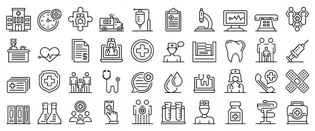 家族の健康クリニックのアイコンセット、アウトラインのスタイル