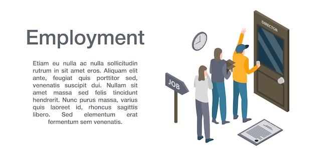 雇用概念バナー、アイソメ図スタイル
