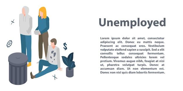 失業コンセプトバナー、アイソメ図スタイル