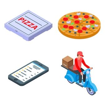 ピザ配達のアイコンセット、アイソメ図スタイル