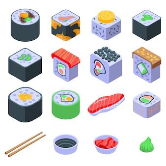 Набор иконок суши ролл, изометрический стиль