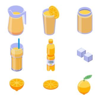 レモネードのアイコンセット、アイソメ図スタイル