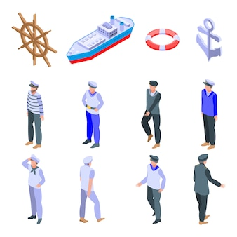 Набор иконок моряков