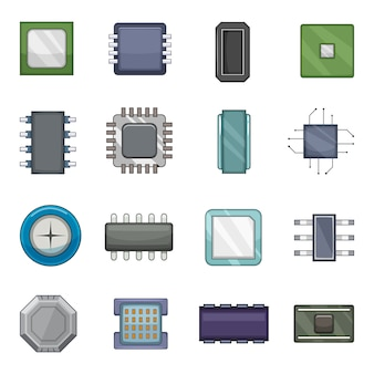 Набор иконок компьютерных чипов