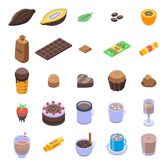 Набор иконок какао, изометрический стиль