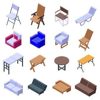 折りたたみ家具のアイコンセット、アイソメ図スタイル