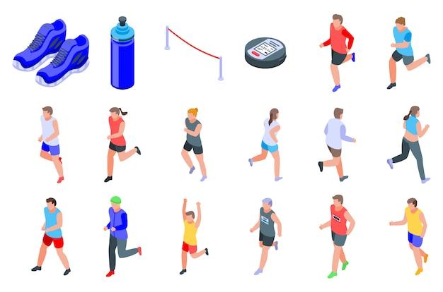 Набор иконок для бега, изометрический стиль