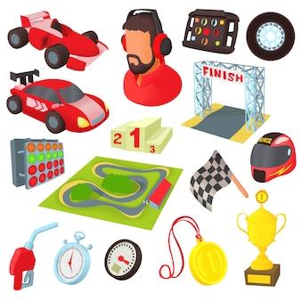 Набор иконок гонки в мультяшном стиле