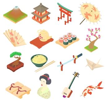 漫画のスタイルで中国の伝統文化のアイコンを設定します。