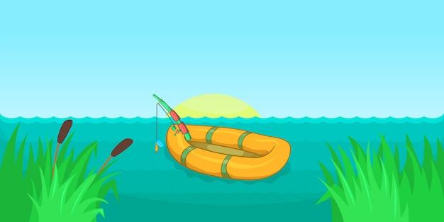 湖釣り水平背景、漫画のスタイル