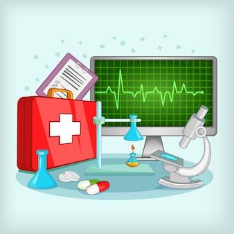 Концепция медицины, мультяшном стиле