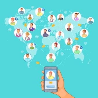 ソーシャルネットワークのコンセプト携帯電話、漫画のスタイル