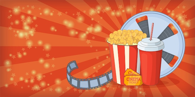 映画館映画水平背景のトウモロコシ、漫画のスタイル