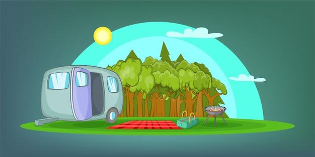 キャンプの水平背景ピクニック、漫画のスタイル