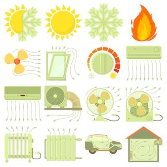 Набор значков инструментов тепла холодного воздуха