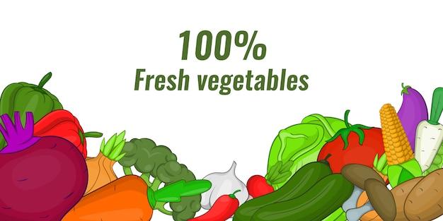 Баннер свежих овощей горизонтальный, мультяшный стиль