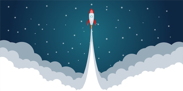 Ракетно-космический запуск концепции, мультяшном стиле