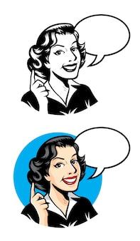 レトロママはフレンドリーな笑顔で何かを思い出させる