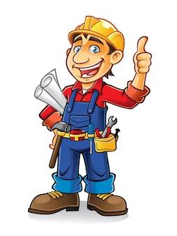 建設労働者は、紙の仕事やツールを親指で持ち上げて立っている