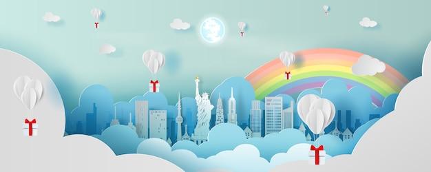 Воздушный шар в виде панорамы высшей достопримечательности города америки