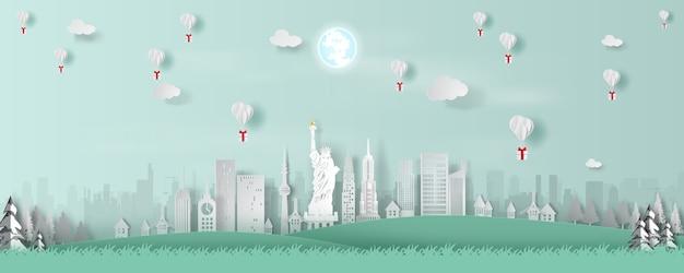 Воздушный шар из панорамы лучшего мирового города америка путешествия.