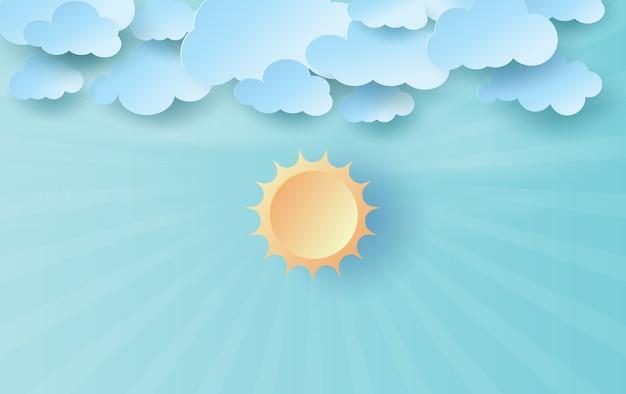 Бумага искусство и ремесло солнечного света на голубом небе.