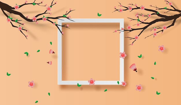 Рамка весеннего сезона концепция вишни в цвету