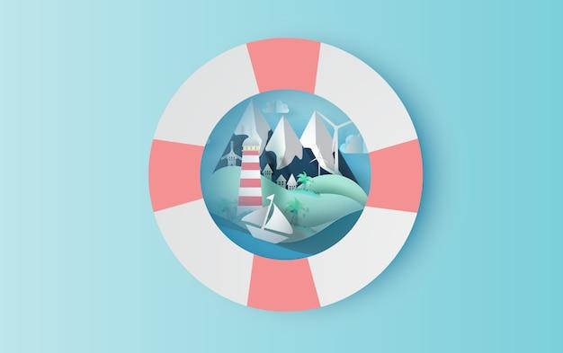 Путешествие в отпуск с концепцией плавательного кольца