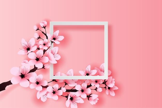 Белая рамка весенний сезон концепция вишни в цвету