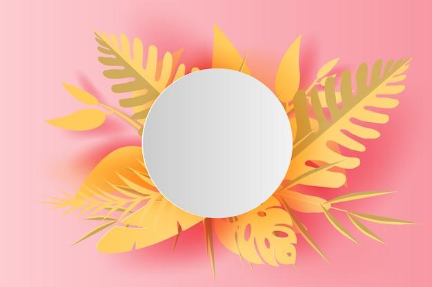 イラスト夏の白丸フレーム熱帯の葉