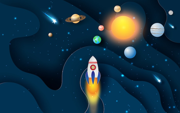 Абстрактная кривая волна с запуском ракеты