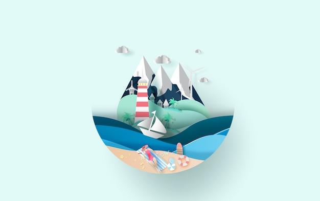 夏休み、休暇、休暇で旅行します。