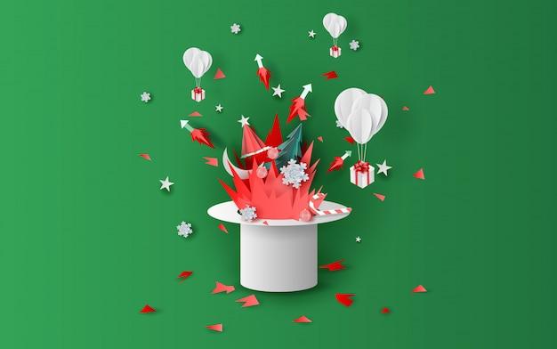 たき火と帽子とクリスマスの花火