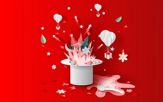 帽子とクリスマスの花火
