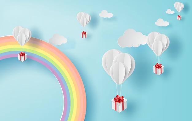 Воздушный шар белый плавающий на небе