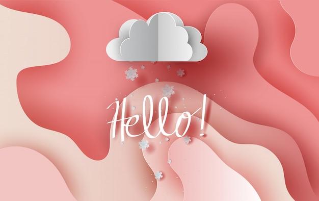 抽象的な曲線の形のピンクの空の背景に雲の降雪。