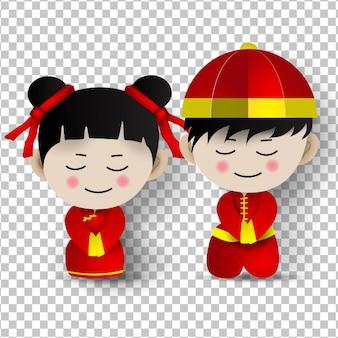 幸せな中国の新年のための伝統的な少年少女の衣装