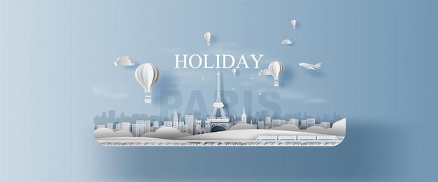 Панорама праздника достопримечательности ландшафта эйфелева башня париж город франция.