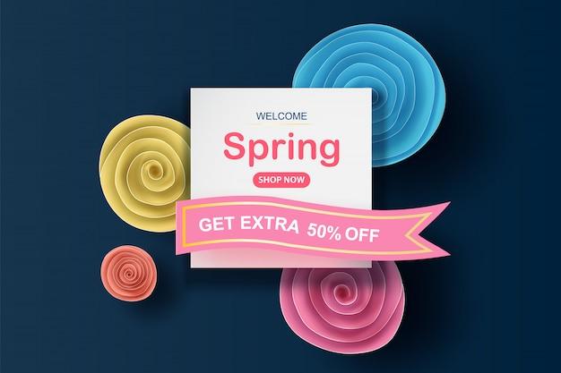 美しいカラフルな花ロールサークルと春のセール。
