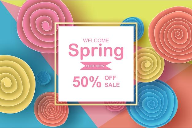 色とりどりの花を持つフレームは、春シーズンの販売のためのサークルをロールバックします