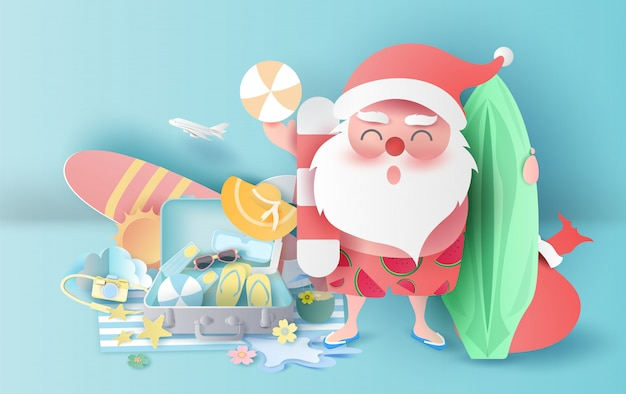 Лето рождество с чемоданом концепции.