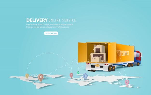 オンライン配信サービスのコンセプト、オンライン注文追跡、宅配およびオフィス。