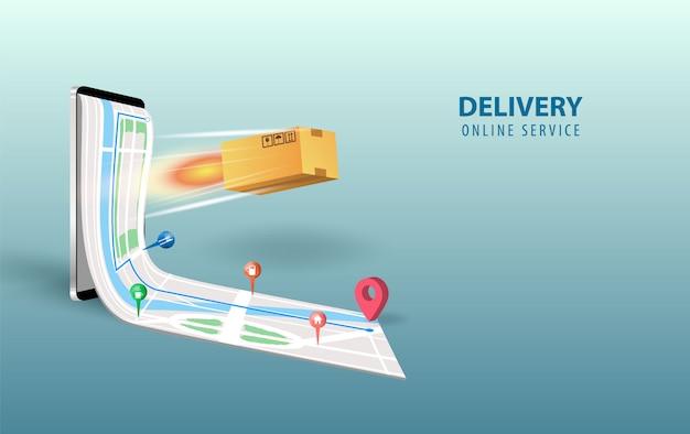 オンライン配信のスマートフォンのコンセプトアイデア。モバイルでの高速応答配信パッケージの配送。