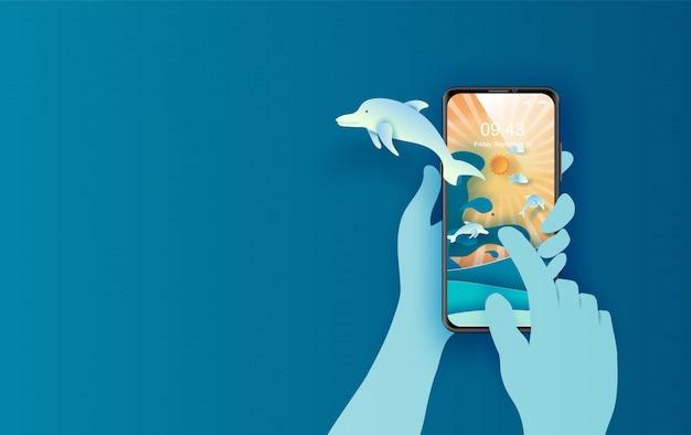 世界海洋デーのペーパーアートとカットのコンセプト。