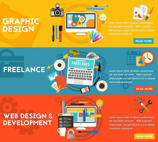 グラフィックデザイン、ウェブデザイン、開発とフリーダンスの概念