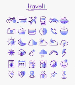 Установить линейные иконки для путешествий, туризма и погоды